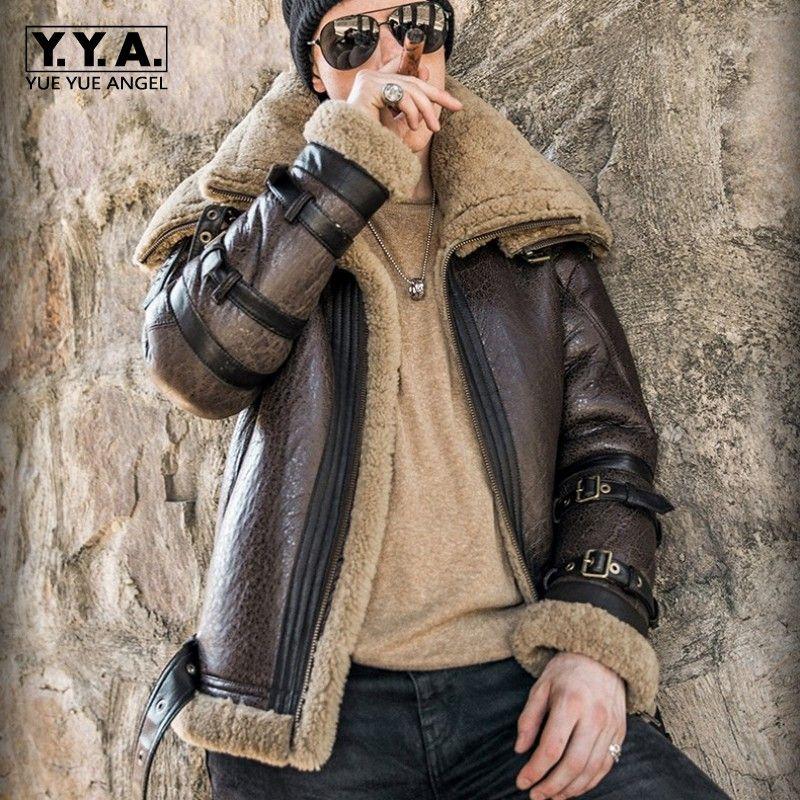Italien Luxus Männer Winter Lammfell Echtpelz Jacke 6XL Biker Schaffell Echtes Leder Mantel Starke Warme Pelz Futter Military Jacke
