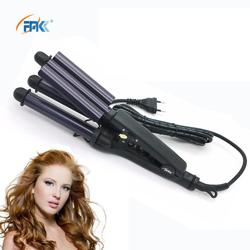 FMK Pro styler en céramique fer à onduler Bigoudi Rouleau 3 Baril Vacille Cheveux Styling Outils Cheveux baguette de curling Fer À Sertir Pinces HT020A