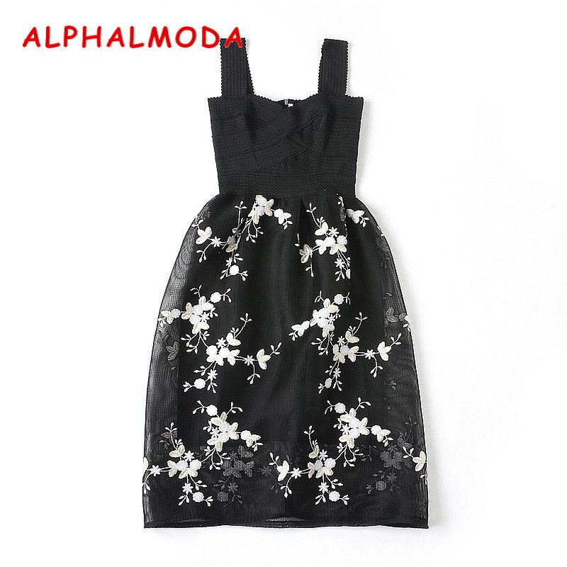 ALPHALMODA 2018 Women's Embroidery Party Dress Sleeveless Bandage Stretchy Tank Floral Embroidered Female Elegant Vestidos