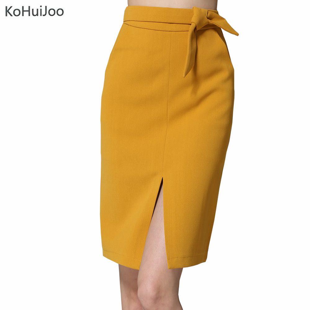 Kohuijoo 2018 Демисезонный Для женщин большой юбка с бантом черного, желтого цвета серый сплошной разрез спереди Юбки для женщин Высокое качество...