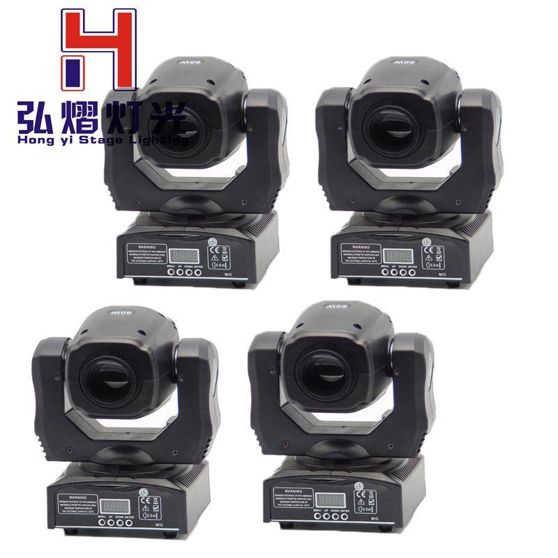 2016 New arrive 4pcs/lot china dj equipment led mini 60w beam moving head spot light double gobo wheels