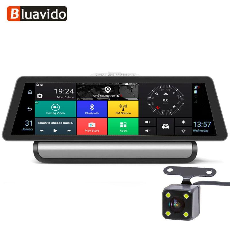 Bluavido 10 zoll 4g Android Auto DVR 1080 p Video Kamera GPS Navigation ADAS Full HD Camcorder Bluetooth WiFi dual lens Dashcam
