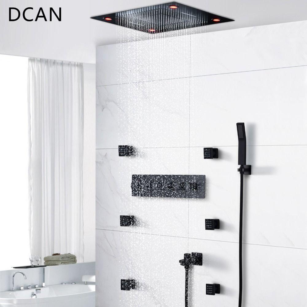 DCAN Schwarz Dusche System Led Fernbedienung Licht Multi-Funktion Messing Dusche Set