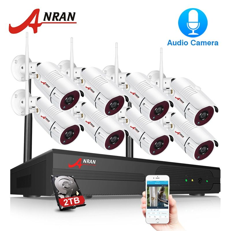 ANRAN Sicherheit Kamera System Wifi 8CH NVR Mit 1080 p HD Audio Record Outdoor Nachtsicht CCTV Kamera Video Überwachung system
