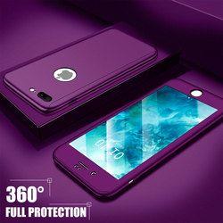 H & A 360 cubierta completa cubierta protectora para el iPhone 7 6 6 S 8 más casos con vidrio templado cubierta para el iPhone 8 6 7 más teléfono bolsa