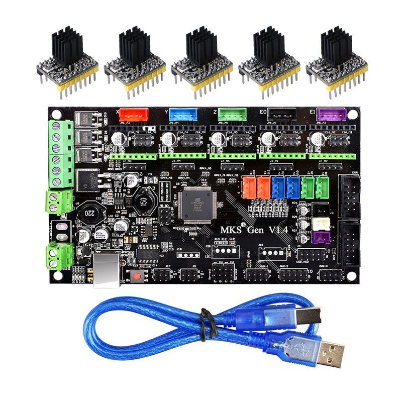 Pièces d'imprimante 3D MKS Gen V1.4 carte de commande Mega 2560 R3 carte mère RepRap Ramps1.4 + TMC2100/TMC2130/TMC2208/DRV8825 Driver