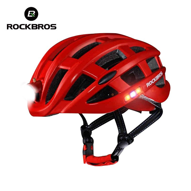 ROCKBROS Cycling <font><b>Helmet</b></font> Bike Ultralight <font><b>Helmet</b></font> With Light Intergrally-molded Mountain Road Bicycle <font><b>Helmet</b></font> Safe Men Women 49-59cm