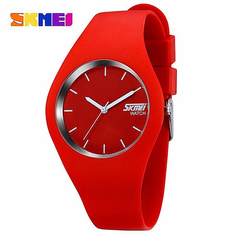 Watch Women SKMEI brand Fashion Casual quartz watch Men watches <font><b>Montre</b></font> Femme Reloj Mujer Silicone Waterproof Sport Wristwatches