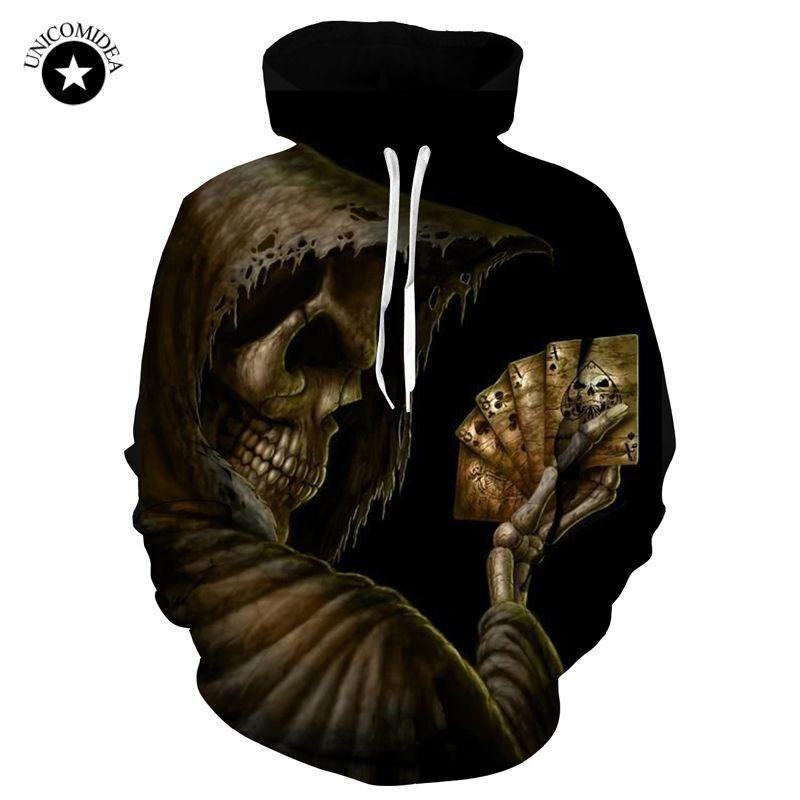 Skull Poker Hoodies Sweatshirts Men Women 3D Pullover Tracksuits Hooded Male Jackets Fashion Casual Outwear Winter Tops Dropship