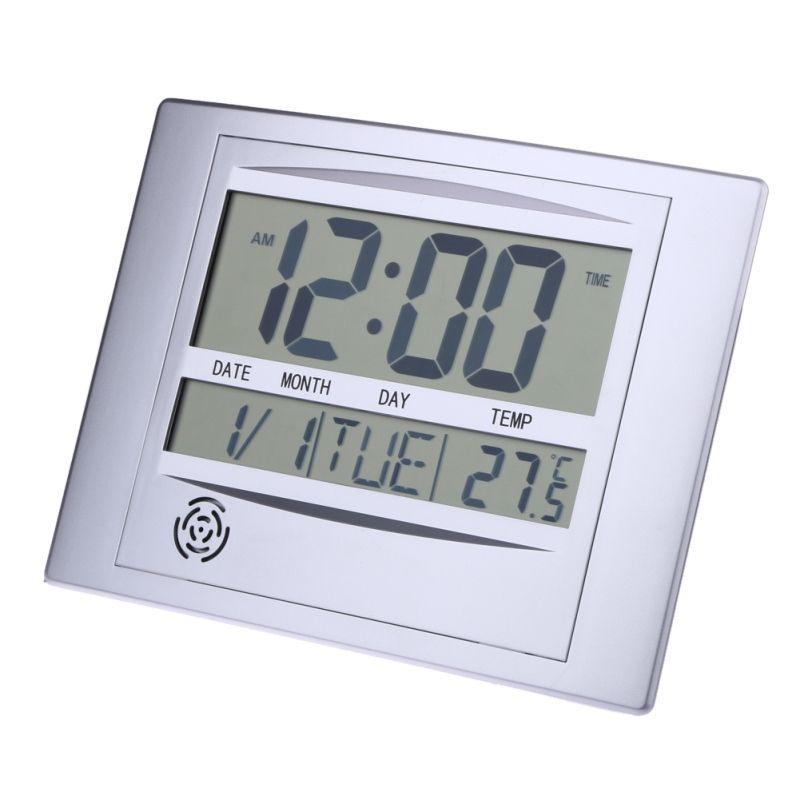 Horloge murale numérique LCD La Crosse haute technologie Table alarme bureau horloge avec thermomètre de température Snooze calendrier