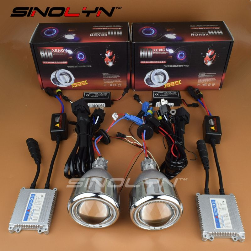 SINOLYN Motorcycle Headlight Angel Eyes Halo HID Bixenon Projector Lens For CBR 600F4I 500R Ninja 650 300 GSXR 600 650 R1 R6 R15