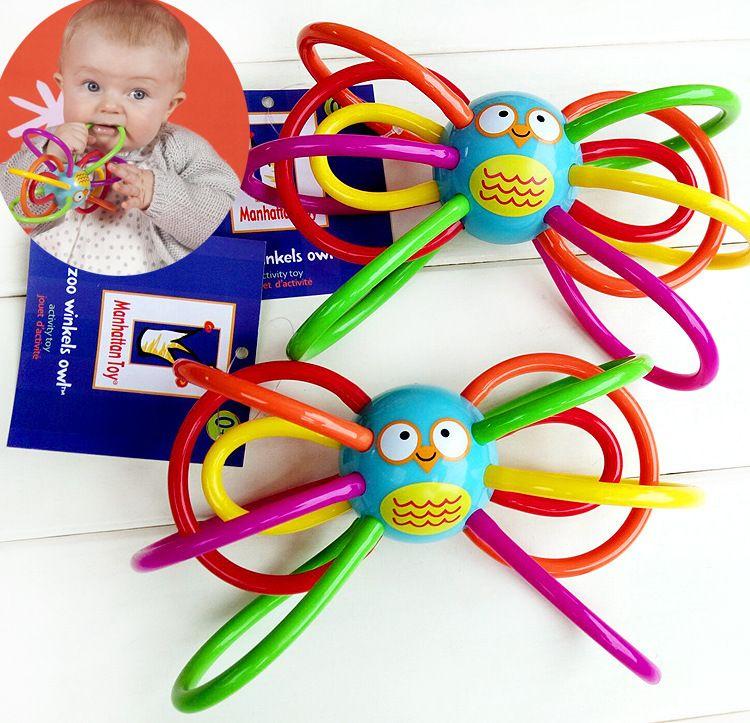 Dientes que búho bebés mano agarrar un ruido pelota de goma de diente del bebé al por mayor juguetes educativos una campana