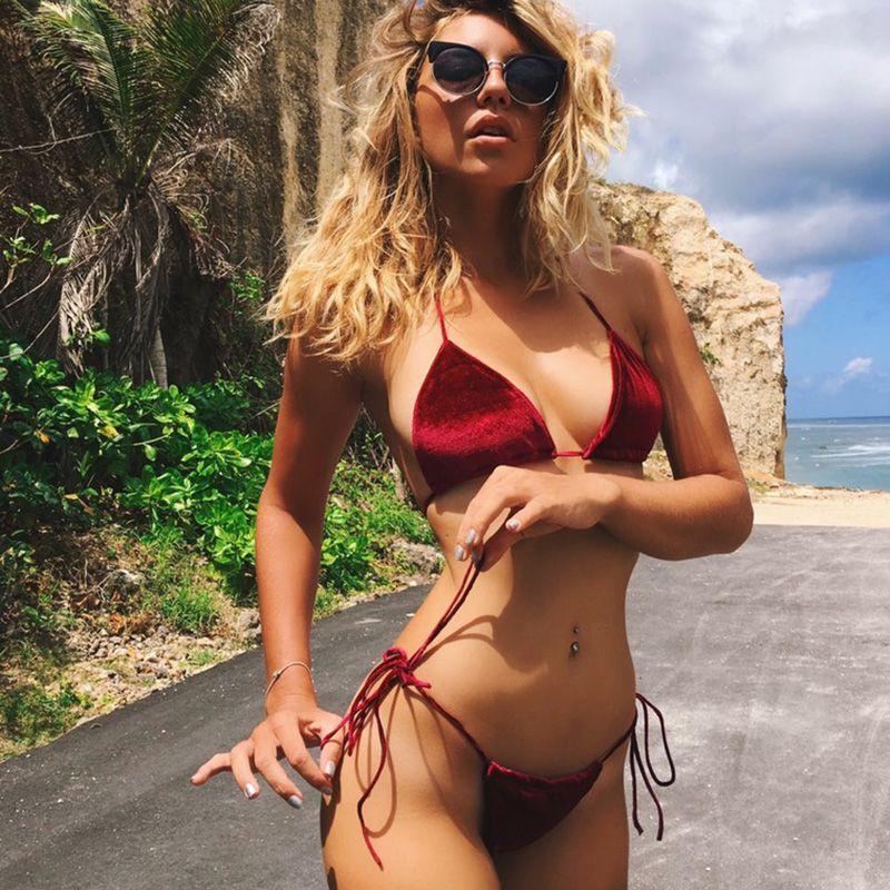 Super Sexy Bikini Set Women Swimwear 2017 Swimsuit Halter Swimming Suit Trikini Velvet Bikini Monokini Beachwear Bathing Suit