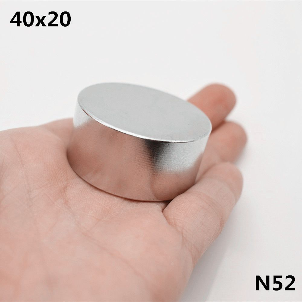 1pcs N52 Neodymium magnet 40x20 mm super strong round Rare earth powerful NdFeB speaker magnetic 40*20mm disc gallium metal