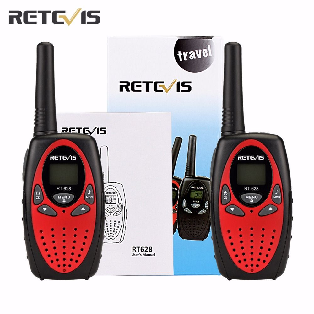 2 pcs RT628 Kids Retevis Walkie Talkie Transceiver UHF Frequency Portable 0.5W 446MHz LCD Display Toy Radio Communicator A1026