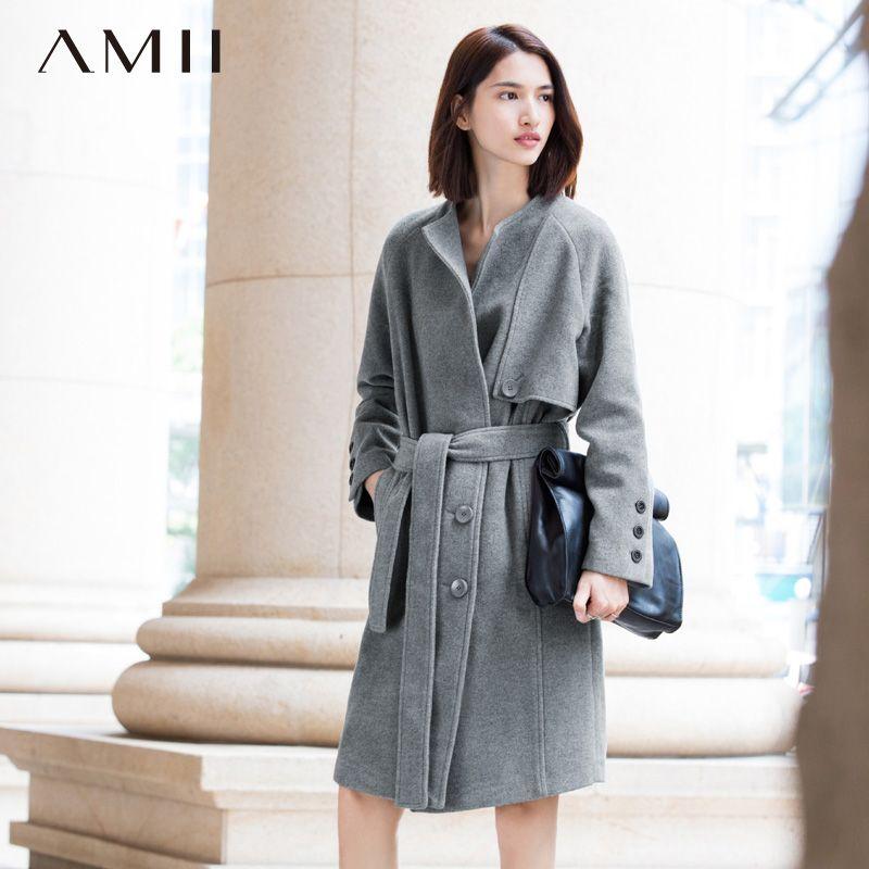 Amii Casual Women Woolen Coat 2017 Winter Double Breasted Waist Turn-down Collar Female Wool Blends