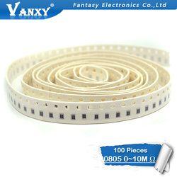 100 Pcs 0805 SMD 1/4 W Resistor Chip 0R ~ 10 M 0 10R 100R 220R 330R 470R 1 K 4.7 K 10 K 47 K 100 K 0 10 100 330 470 Ohm