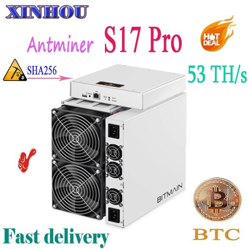 Neueste AntMiner S17 Pro 53TH/s SHA256 7nm Asic miner BCH BTC Bitcoin Bergbau Besser als S11 S9 S15 t15 M3 M10 E10 T2T T3 baikal