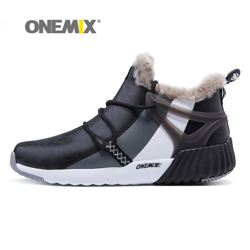 Onemix Men's Winter Boots Suede Leather Sneakers Hairy Outdoor Warm Durable Running Shoes Sneakers Men's Sport Shoes freeshiping