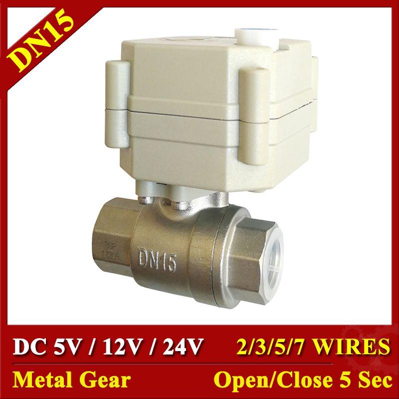 Tsai Fan elektrische ball ventil 1/2 ''DC5V/12 V/24 V SS304 2/3/5 /7 drähte elektrische wasser ventil 2 weg BSP/NPT mit handbetätigung