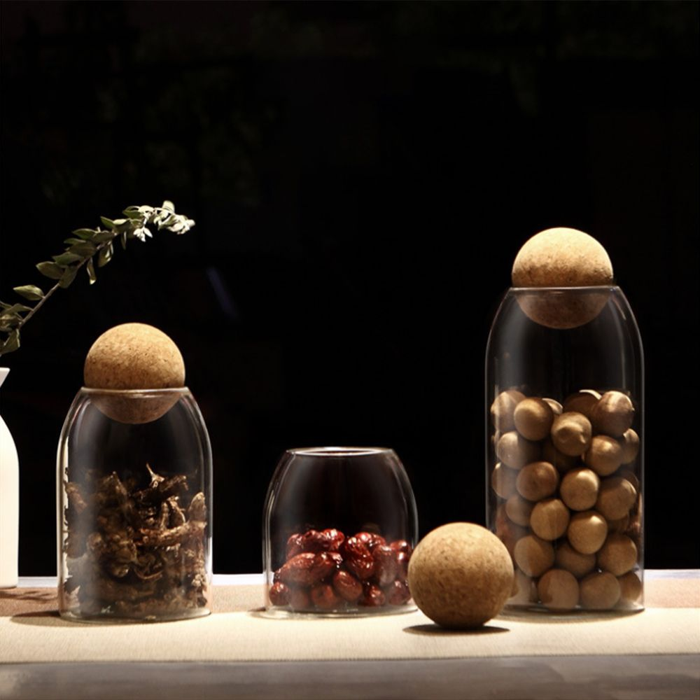 Creative kitchen tea storage bottles glass candy Jars with cork lid spices Sugar coffee container receive Organizer Cans