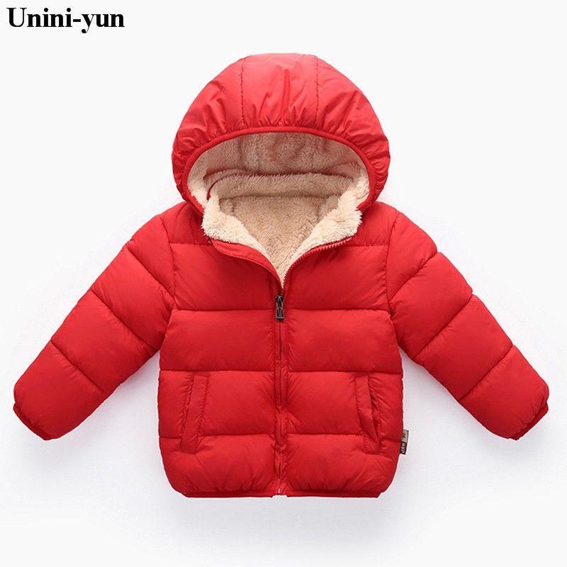 Unini-yun Fille Vestes Filles Manteaux À Manches Longues Solide Épais Enfants Bébé Garçon Vers Le Bas Parkas Coton Chaud Enfants vêtements