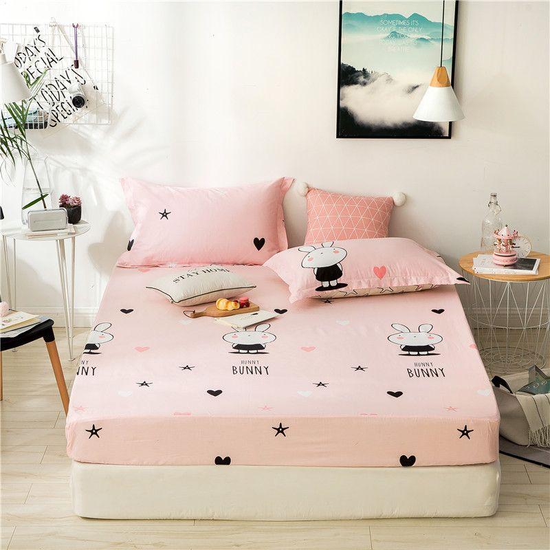 Cartoon Pink Cartoon Figure Pattern 3Pc Cotton Fitted Sheet Stripe Mattress Cover Four Corners With Elastic BandSheet Pillowcase