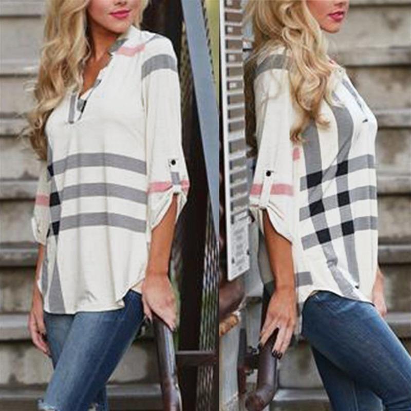 2016 New Women's Fashion Loose Long Sleeve Plaid Printed Shirt Tops