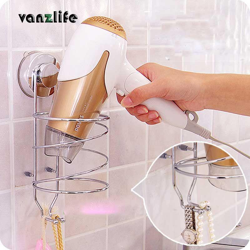 Vanzlife multi-fonction étagère de rangement puissant aspiration conteneur en acier inoxydable pour sèche-cheveux salle de bains étagère murale