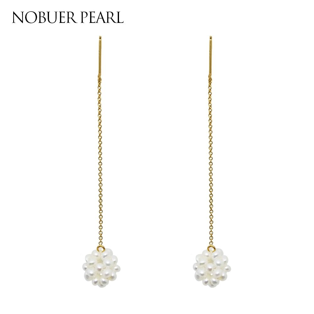 Nobuer DIY Long Chain 14K Gold Jewelry Pearl Drop Earring For Women With Pearls Earrings Hanging