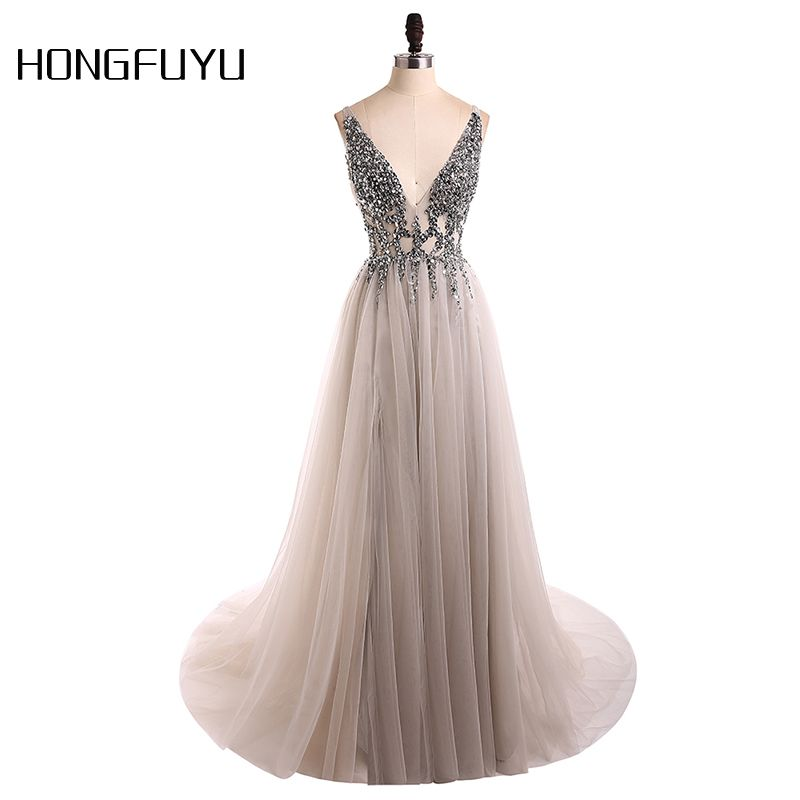 Sexy Evening Dress 2018 V-Neck Beads Open Back A Line Long Evening Dresses Party Vestido De Festa High Split Tulle Prom Gowns