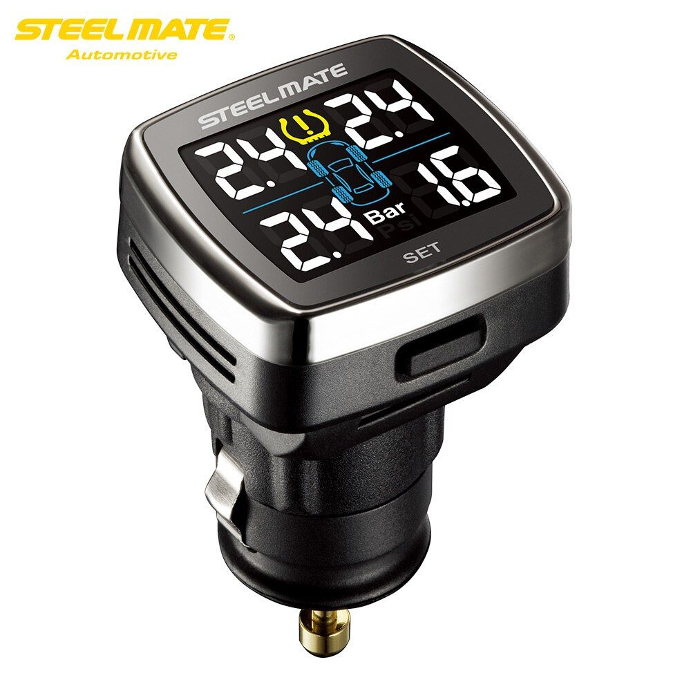 Steelmate TP-78 TPMS Tire Pressure Monitoring System LCD Display Cigarette Plug USB Charger 4 Valve-cap External Sensors