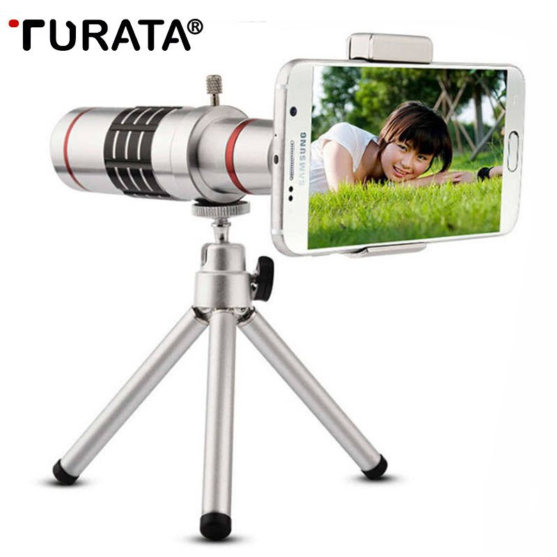 TURATA Universal Clip On 18X Telephoto Lens Mobile Phone Optical Zoom Telescope Camera For iPhone 7 6S Samsung Xiaomi HTC Asus