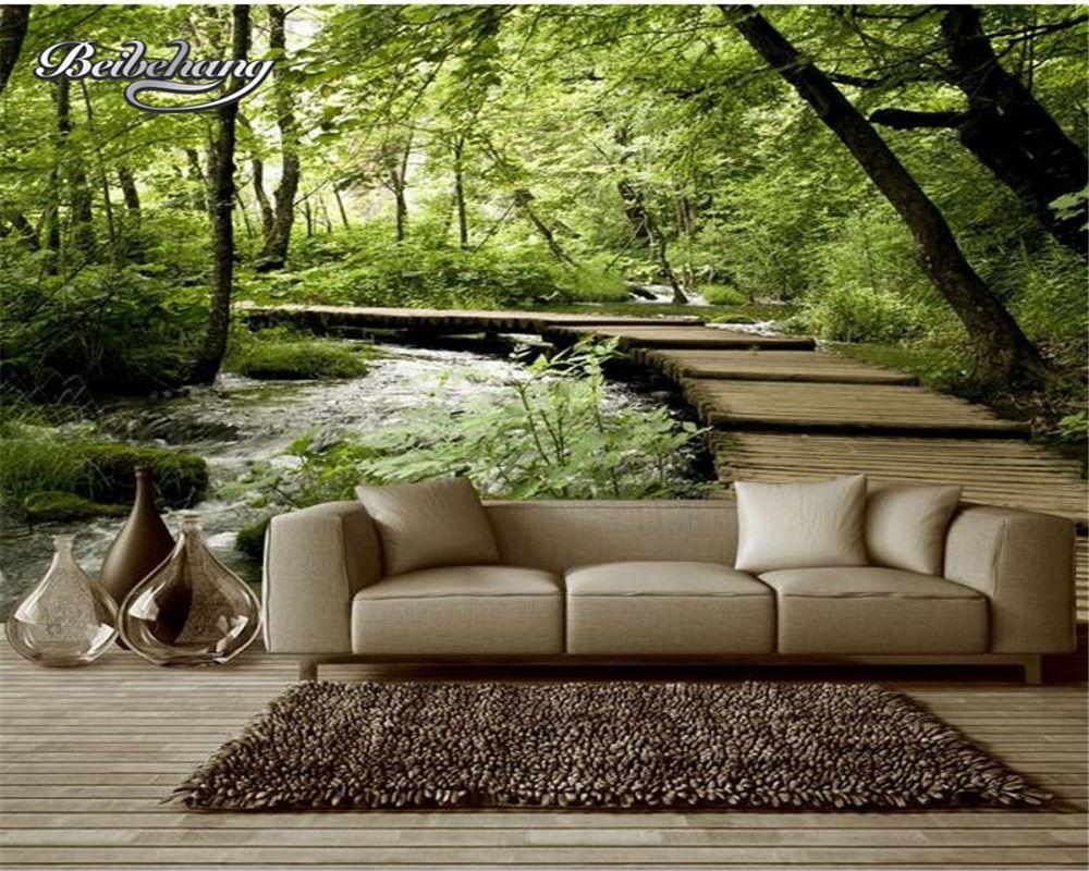 Beibehang papier peint personnalisé naturel paysage bois pont bois mural décor à la maison salon chambre TV fond 3d papier peint