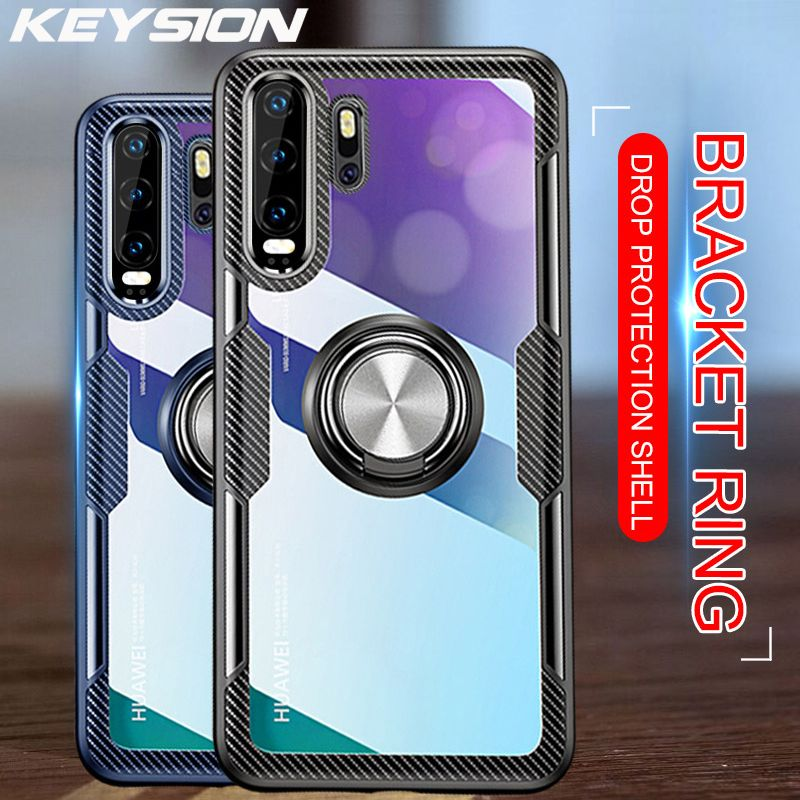 KEYSION Luxury Slim Shockproof Metal Magnetic Car Ring Case for Huawei P30 P20 Pro Lite Soft Silicone Cover for Mate 20 Pro Lite