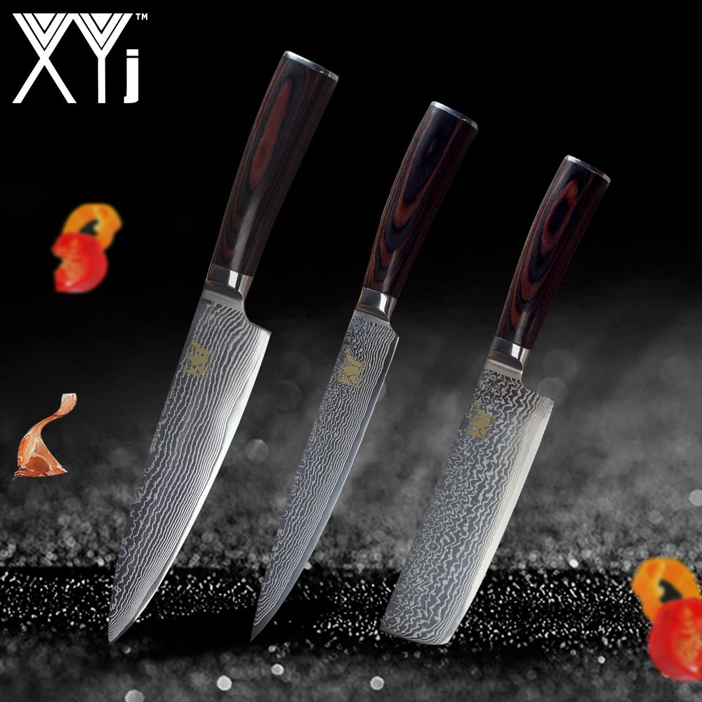 XYj Brand VG10 Damascus Steel Knife 3 Pcs Set Color Wood Handle Japanese Steel Kitchen Knife Ultra-thin Blade Cooking Knives Set