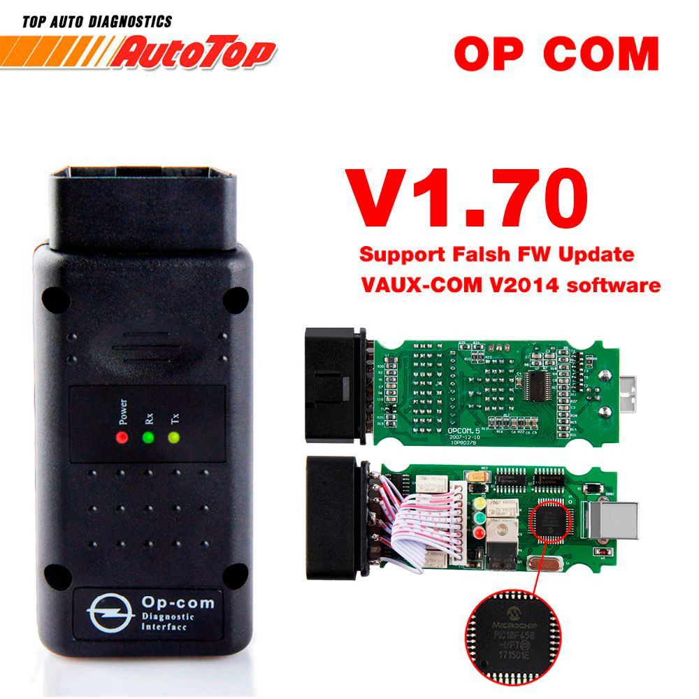 2018 OP COM V1.70 OBD2 OP-COM for Opel Car Diagnostic Scanner Real PIC18f458 OPCOM for Opel Car Diagnostic Tool Flash Firmware