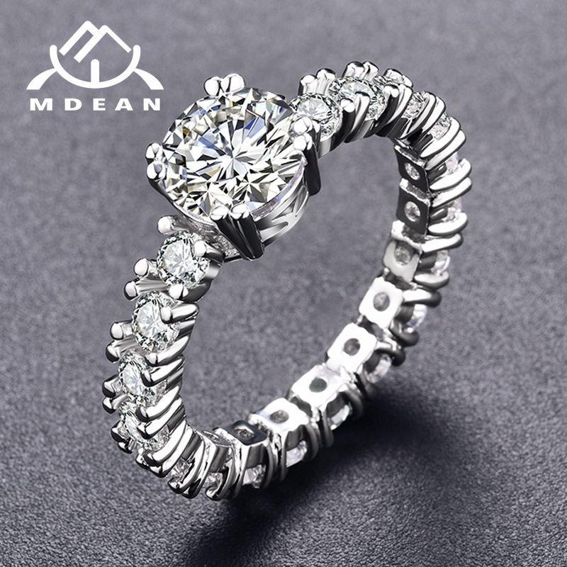 MDEAN White Gold Color Engagement Rings For Women White AAA Zircon Jewelry Fashion Women Wedding Ring Size 5-12 H373