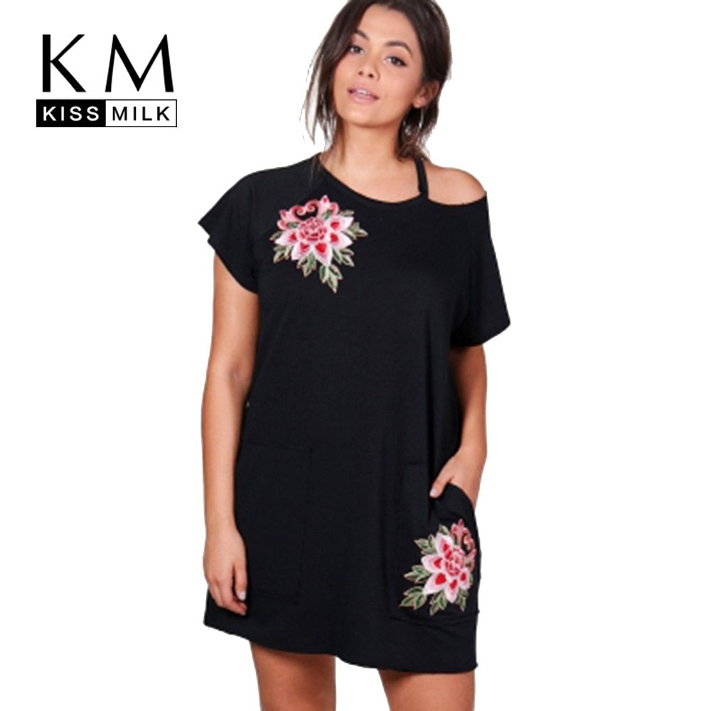 Kissmilk Women Plus Size Clothing Short Sleeve Flower Embroidery Dress Above Knee Casual Loose Large Size Dress 3XL-7XL