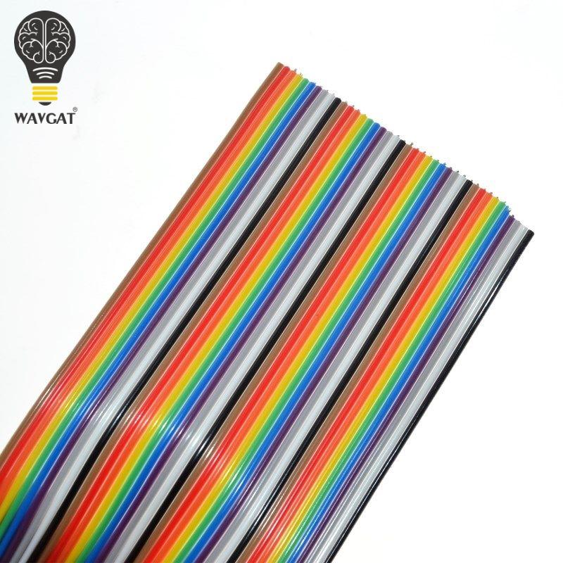 1 meter 1,27mm Abstand Pitch40 WEG 40 p Flache Farbe Regenbogen Band Kabel Verdrahtung Draht Für PCB DIY 40 weg Pin