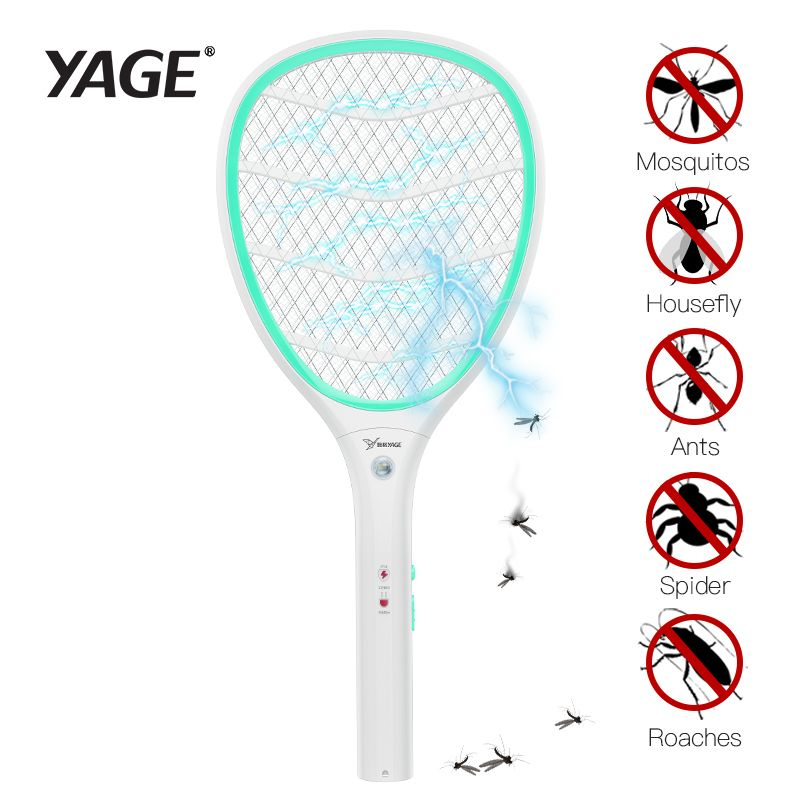 YAGE Electric Mosquito Swatter Mosquito Killers Pest Control Bug Zapper Reject Racket Trap Home Tool 2200V Electric Shock 400mAh