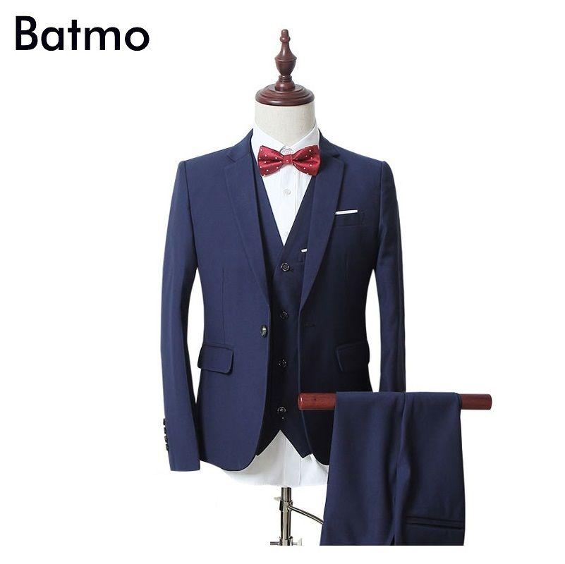 Batmo 2017 neue frühlings hochwertigen marineblau einzel knopf-beiläufige anzug männer, blazer hochzeit kleid, anzug (jacken + weste + hosen