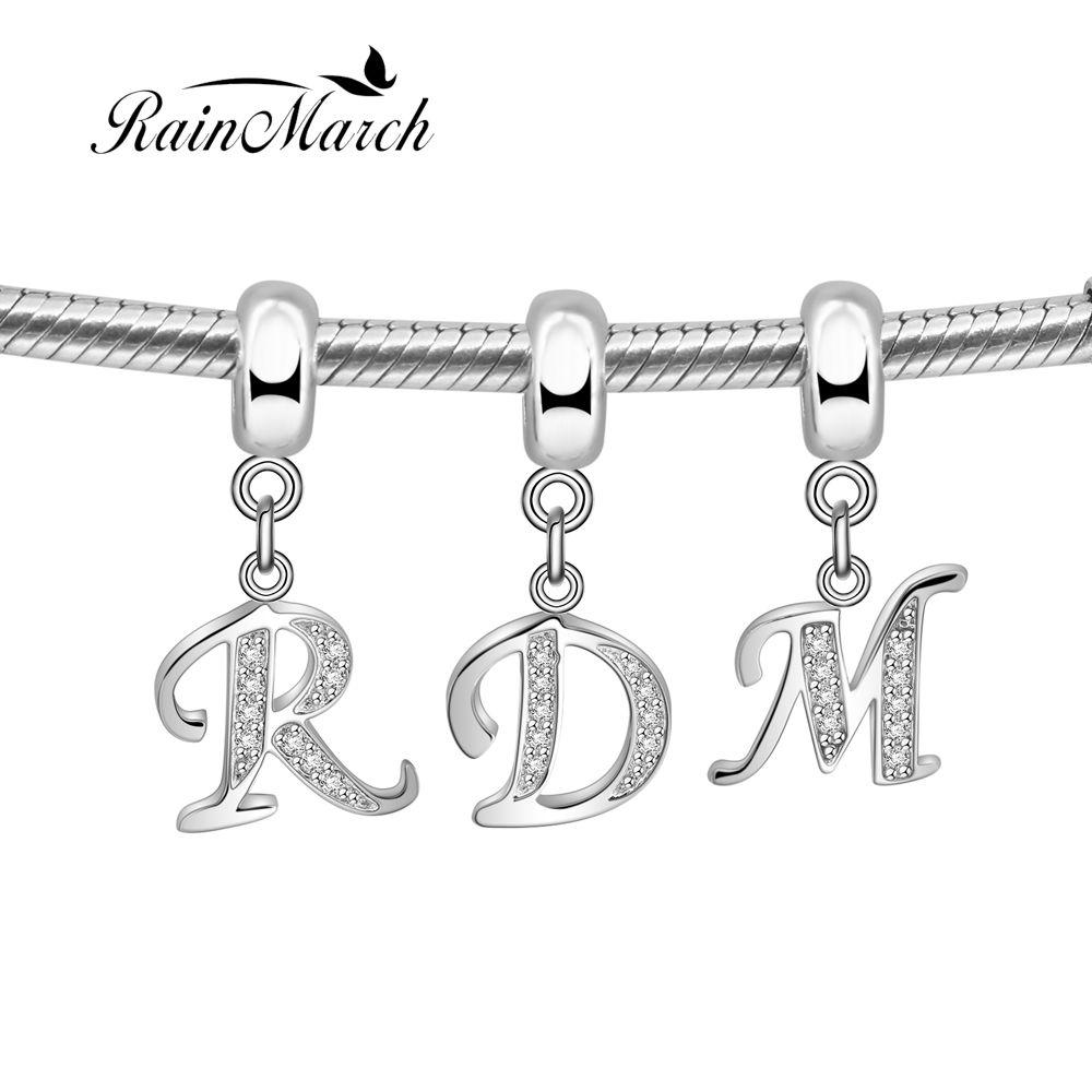 100% 925 perles en argent sterling alphabet lettre pendentif charme