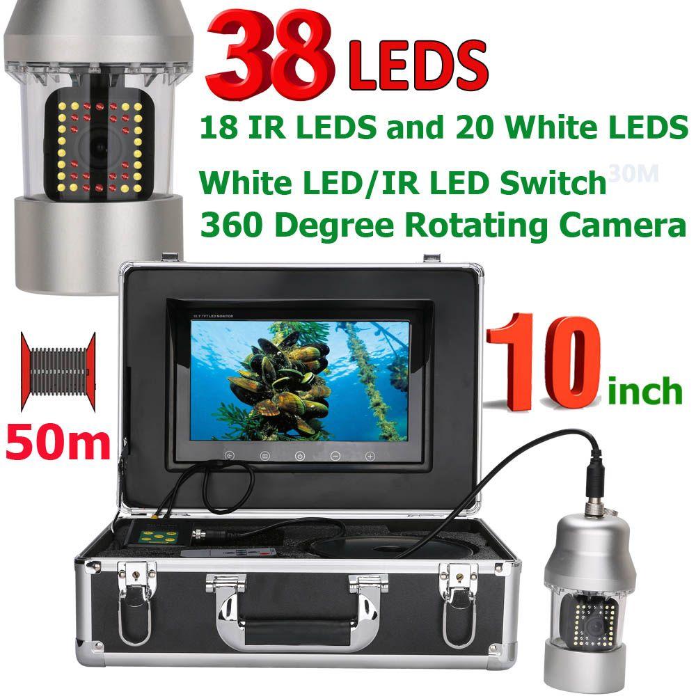 10 zoll 50 mt Unterwasser Angeln Video Kamera Fisch Finder IP68 Wasserdicht 38 LEDs 360 Grad Rotierenden Kamera 20 mt 100 m