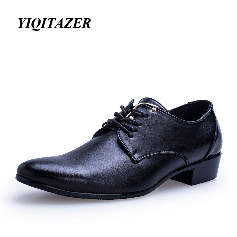 Yiqitazer 2017 hombres visten los hombres italianos Zapatos de cuero, Moda hombre mocasín Encaje up Zapatos punta estrecha Zapatos negro marrón