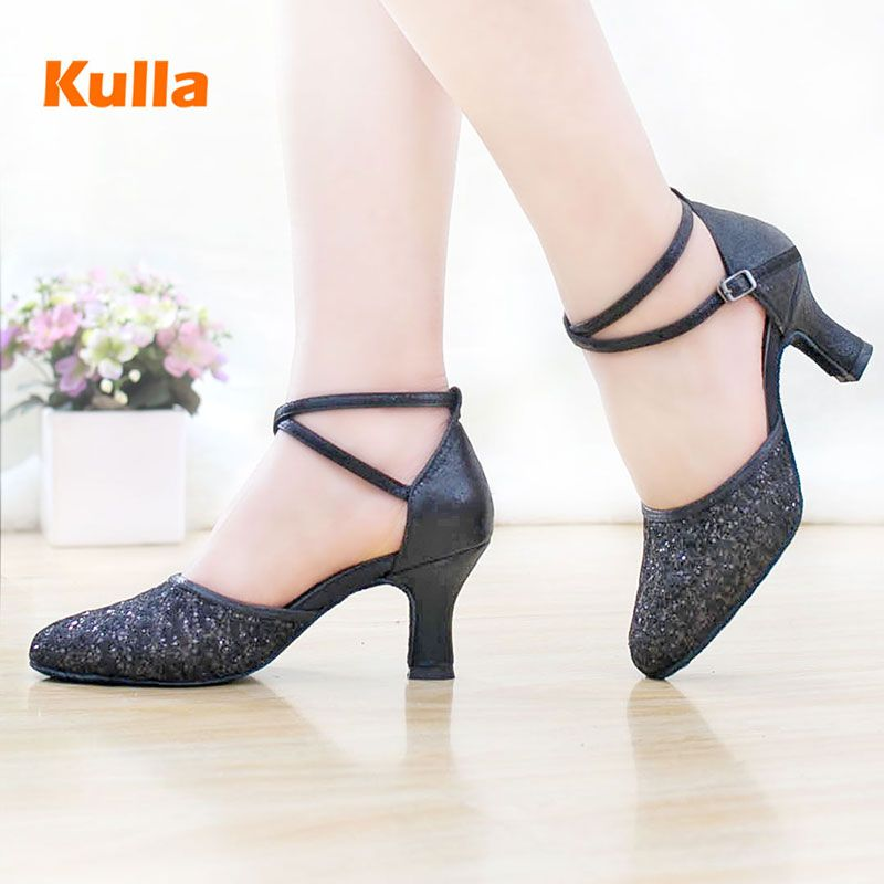 Chaussures de danse latine femme talon haut paillettes femme salle de bal Tango salsa Tap chaussures de danse latine pour dames chaussures latines noires