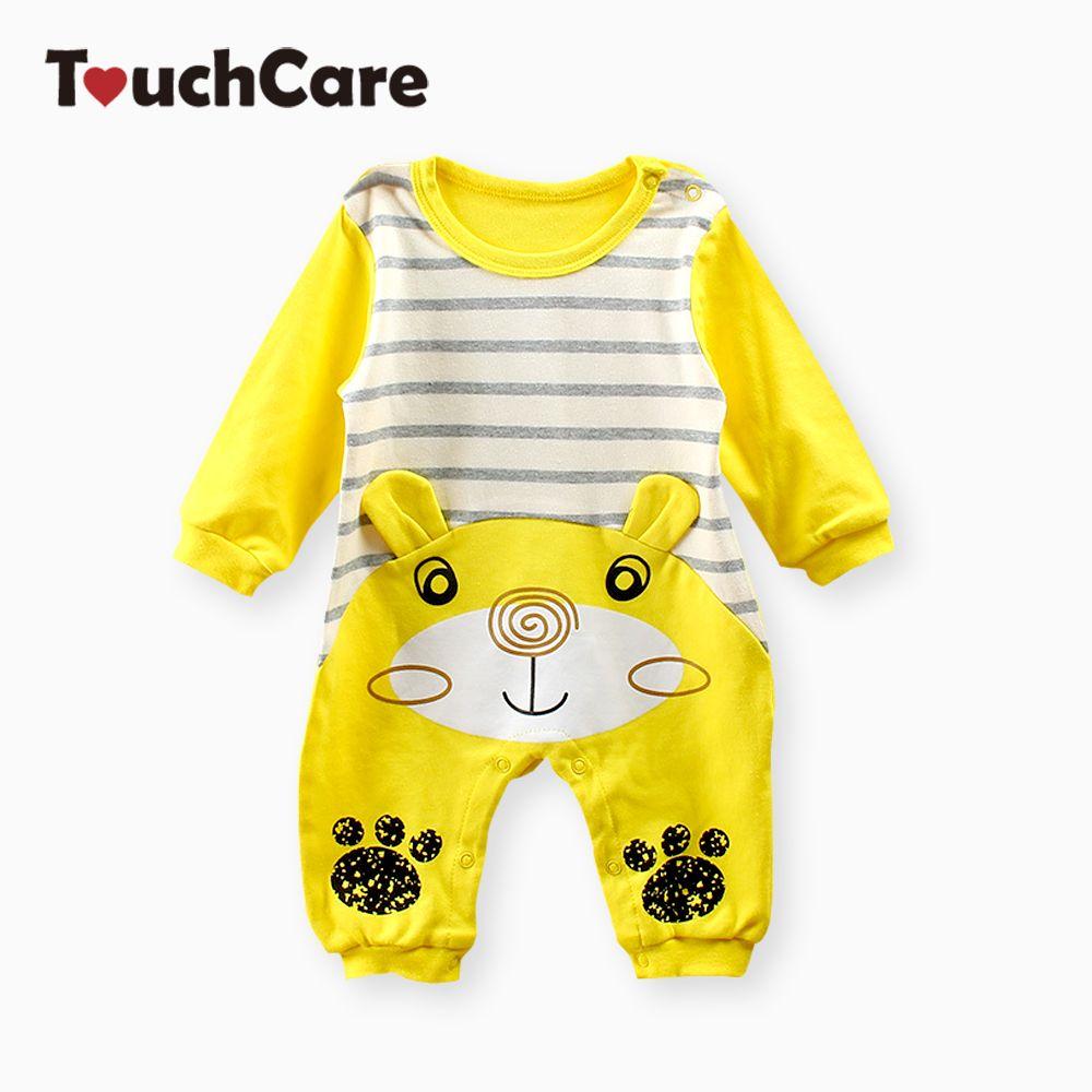 Touchcare Демисезонный новорожденных Для маленьких мальчиков девочек Комбинезоны для малышек с длинным рукавом мультфильм комбинезон для дете...