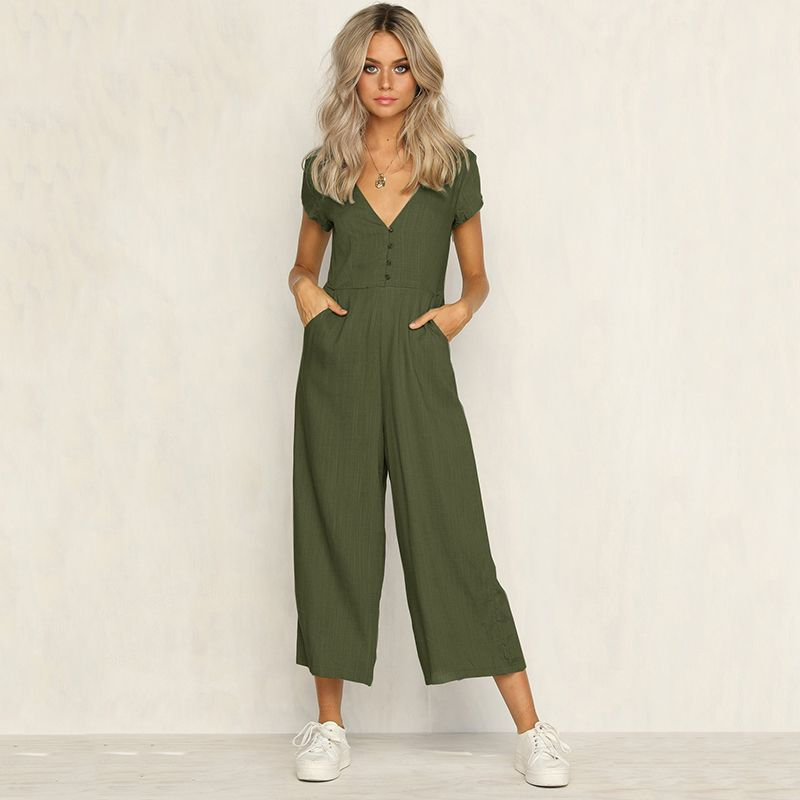 Sexy v neck wide leg jumpsuit for women 2018 Summer fashion short sleeve khaki rompers womens jumpsuit Causal loose overalls