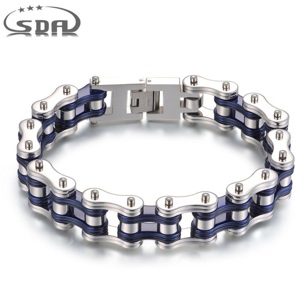 SDA Men's Motorcycle Chain Bracelet 316L Stainless Steel link chain bracelets Black silver with high polish 7.5inch <font><b>10inch</b></font> YM093