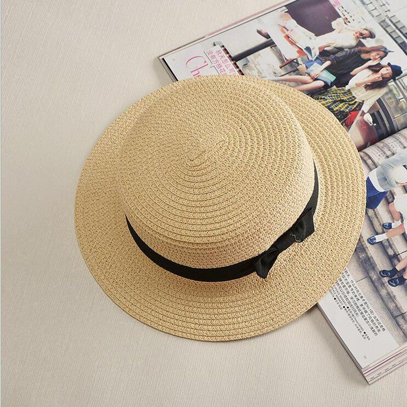 Ladybro 2017 Summer Women Boater Beach Hat Female Casual Panama Hat Lady Brand Classic Bowknot Straw Flat Sun Hat Women Fedora